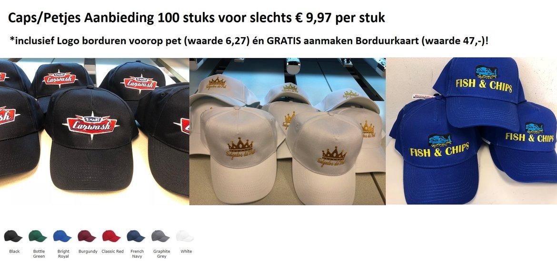 Caps Petjes met Logo borduren en gratis borduurkaart Aanbieding € 9,97 per stuk