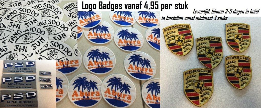 Opstrijkbare geborduurde Logo Badges vanaf 3 stuks online te bestellen, binnen 3 dagen in huis! BADGES, PATCHES, EMBLEMEN