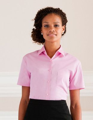 Z937F Dames Pure Cotton Easy Care Poplin Shirt met Korte mouwen RUSSELL