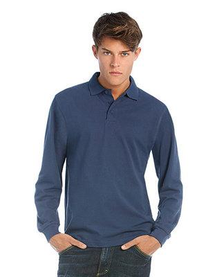 BCPU423 Heavymill piqué Polo shirt met lange mouwen B&C