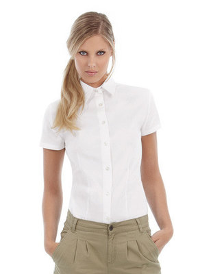 BCSWT84 Womens Twil Shirt Sharp met korte mouwen B&C