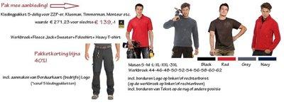 Kledingpakket 5-delig MKB ZZP er Klusjesman Eigen Bedrijf Timmerman Monteur B&C PRO Logo Borduren Werkkleding