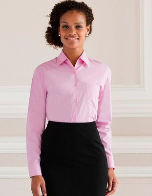 Z936F Dames Pure Cotton Easy Care Poplin Shirt met Lange mouwen RUSSELL