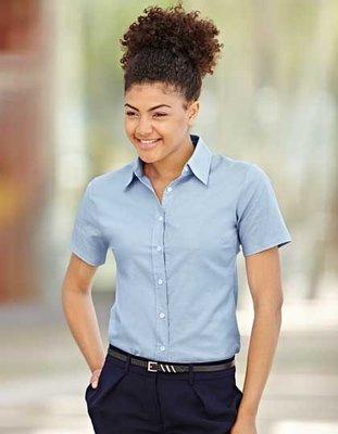 F701 Lady-Fit Oxford Shirt met korte mouwen Fruit of the Loom